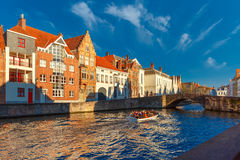 Tourist boat on Bruges canal Spiegelrei, Belgium Stock Images