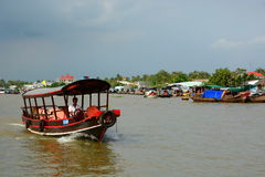 Tourist boat. Cai Be. Vietnam Royalty Free Stock Photography