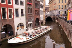Tourist boat canal utrecht Royalty Free Stock Image