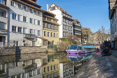 Tourist boat in the canals of Strasbourg Royalty Free Stock Photos