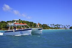 Tourist boat in Caribbean sea Royalty Free Stock Photography