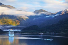 The tourist boat in the Chilean fjord Royalty Free Stock Photo