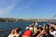 Tourist boat and cityscape of Istanbul, Turkey royalty free stock image