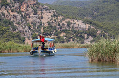 Tourist boat on Dalyan river, turkey Royalty Free Stock Images