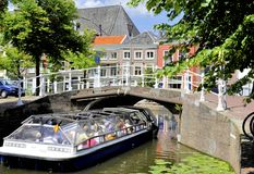 Tourist boat in Delft Royalty Free Stock Photo