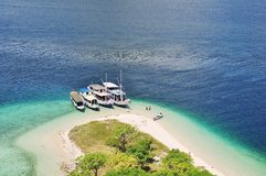 Tourist boat dock at Kelor Island, Labuan Bajo Indonesia. The photo was taken at the top of hill at kelor island Royalty Free Stock Photography