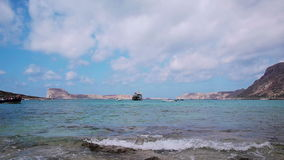Tourist boat docked in Ballos(Balos) bay Royalty Free Stock Photography