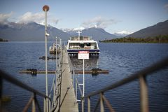 Tourist boat in the fiords Stock Photos