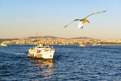 Tourist boat floats along the Bosphorus Stock Photo