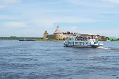 Tourist Boat Floats On The Neva River To The Ancient Russian Fortress Oreshek, Russia Royalty Free Stock Images