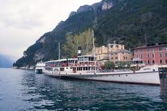 Tourist boat in Garda stock photo