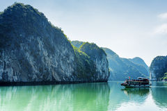 Tourist boat in the Ha Long Bay, the South China Sea, Vietnam Royalty Free Stock Photography
