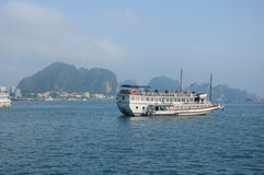 Tourist Boat on Ha Long Bay Vietnam Stock Photo