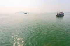 Tourist boat on Halong bay Stock Photos