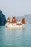Tourist boat on Halong bay Royalty Free Stock Photo