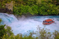 Tourist boat at Huka Falls, Waikato river,  New Zealand