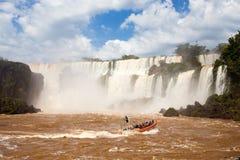 Tourist boat at Iguazu falls. Cascades at Argentina Stock Image