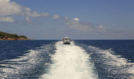 Tourist boat in the Indian Ocean. Seychelles Stock Images