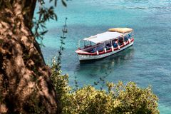 Tourist boat in the Ionian Sea stock photos