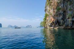 Tourist Boat at James Bond island in Thailand. Tourist Boat at James Bond island in Phuket, Thailand Stock Photos