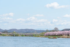 Tourist boat and Kitakami riverside Royalty Free Stock Image