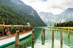 Tourist boat on Konigsee lake in Berchtesgaden National Park. Tourist boat on Konigsee lake in Berchtesgaden National Park in summer, Germany royalty free stock photo