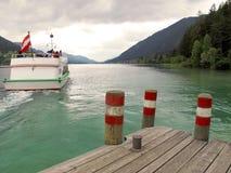 Tourist boat on lake royalty free stock photo