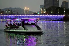 Tourist Boat on the Love River by Night royalty free stock photo