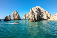 Tourist boat near The Atch in Cabo San Lucas Royalty Free Stock Photography