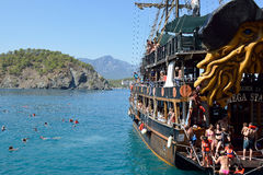 Tourist Boat near Kemer, Turkey Royalty Free Stock Photos