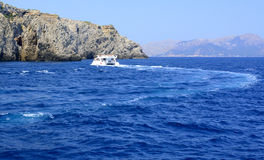 Tourist boat at northern Majorca coast. Royalty Free Stock Photography