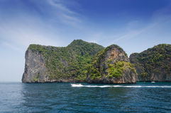 Tourist boat on ocean of Phang Nga National Park Stock Images