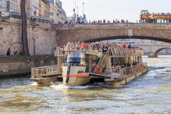 Tourist boat in Paris Royalty Free Stock Image