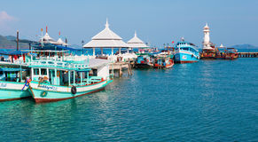 Tourist boat at the pier in Bang Bao in Thailand Stock Photography
