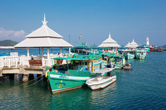 Tourist boat at the pier in Bang Bao in Thailand Stock Photos