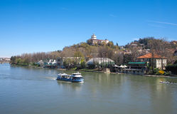 Tourist boat on Po river in Turin Royalty Free Stock Images