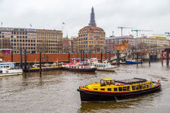 Tourist boat in Port of Hamburg, Elb Channel Royalty Free Stock Image