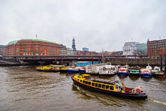 Tourist boat in Port of Hamburg, Elb Channel Royalty Free Stock Photos