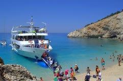 Tourist boat in Porto Katsiki,Greece Royalty Free Stock Photos