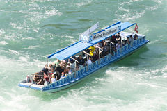 Tourist boat at Rhine Falls, Switzerland Royalty Free Stock Images