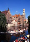 Tourist boat ride, Bruges. Royalty Free Stock Images