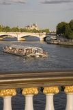 Tourist Boat on the River Seine. In Paris, France, Europe Royalty Free Stock Photos