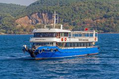 Tourist boat sails Bosphorus Stock Images