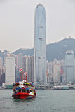 The tourist boat in the sea of Hong Ko Royalty Free Stock Photography