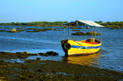 Tourist boat on shore Royalty Free Stock Photos