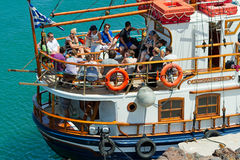 Tourist boat for short trips, Santorini Stock Photography
