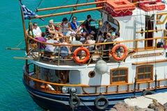 Tourist boat for short trips, Santorini Stock Photography