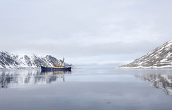Tourist boat in Spitsbergen. Royalty Free Stock Photo