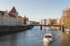 Tourist boat on the Spree in Berlin. Royalty Free Stock Images