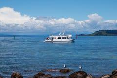 Tourist boat at Taupo lake, New Zealand royalty free stock image